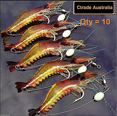 10 x GLOW Rigged Prawn Lures Bream Flathead Whiting Bass Jewfish Soft Plastics
