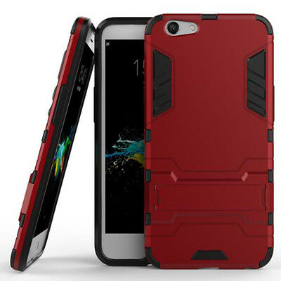 Red Rugged Armor Hard Hybrid Back Case Cover Stand For Various Phones