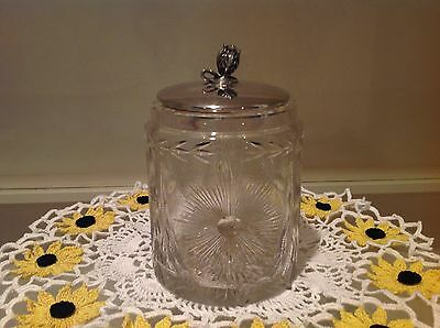 Vintage Cut Glass Dresser/Vanity Jar with Silver Plated Lid