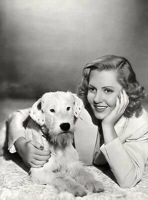Jean Arthur UNSIGNED photo - H5443 - With her dog