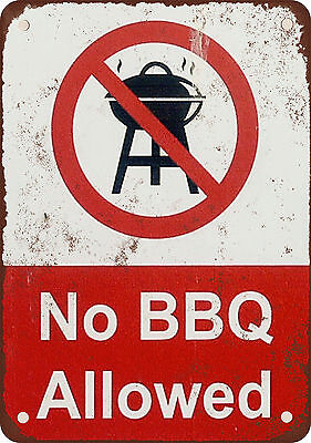 "7"" x 10"" Metal Sign - No BBQ Allowed - Vintage Look Reproduction"