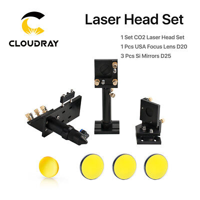 CO2 Laser Head Set Laser Lens Holder with 20mm USA ZnSe Lens with 25mm Si Mirror