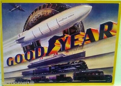 GOOD YEAR heavy embossed metal sign Goodyear tire co. blimp auto train 2030031
