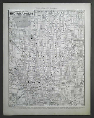 1940 large city map Central Section Indianapolis Indiana 11 x 14 ready to frame