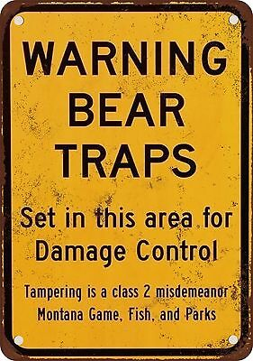 "7"" x 10"" Metal Sign - Warning Bear Traps Montana - Vintage Look Reproduction"