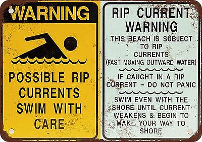 "7"" x 10"" Metal Sign - Warning Rip Currents - Vintage Look Reproduction"