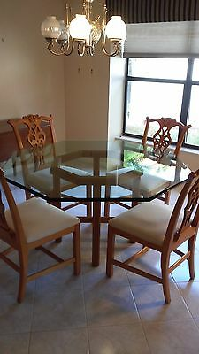 "Vintage Dining Room Set by Century Furniture - 4 wood chairs, 55"" glass top"