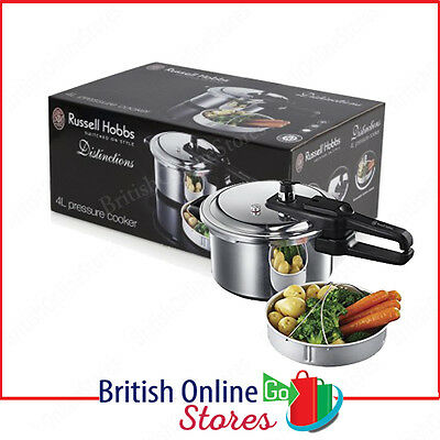 Russell Hobbs RH001 4 Litre Aluminium Pressure Cooker with Steamer Basket - NEW