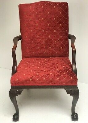 Antique Mahogany & Leather Armchair - FREE Shipping [PL3106]