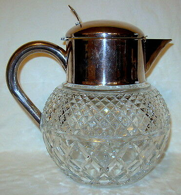 "Vintage German Diamond Cut Crystal with Silver Plate Pitcher - 6-1/2"" Diameter"