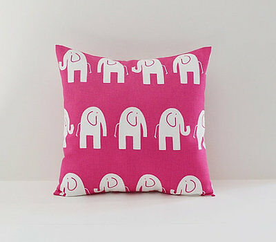 Candy Pink and  White Elephants Decorative Pillow   Nursery / Kids