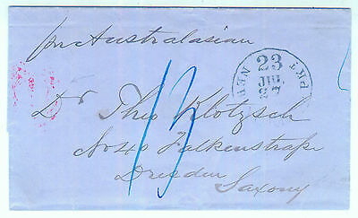 "Incoming Mail: USA - Sachsen per ""Prussian Closed Mail"" 13 Sgr. Porto"