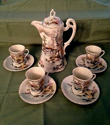Antique Hand Painted Nippon Hot Chocolate/Tea Set - 10 Pc - Asian Scenery