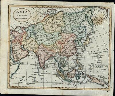 Asia Arabia Persia Hindoostan Tibet Tartary China 1795 antique hand color map