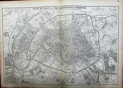 Paris & Communes scarce city plan c.1860 large detailed map Weller Day & Son