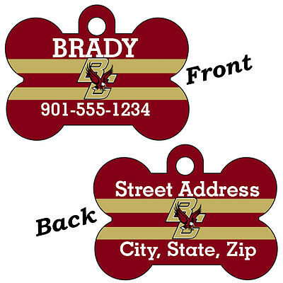 Boston College Double Sided Pet Id Dog Tag Personalized w/ 4 Lines of Text