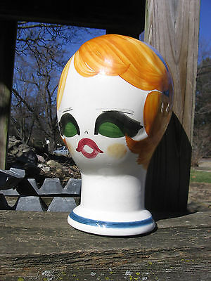 "60s Hand painted porcelain mannequin head Quadrifoglio Florence Italy 91/2"" Tall"