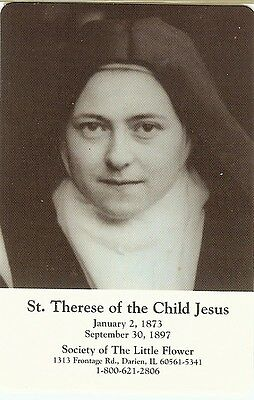 """My Rose St. Therese of the Child Jesus 3rd Class Relic Card 3 1/2"""" x 2 1/2"""""""