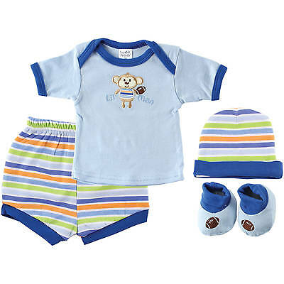 BRAND NEW, Luvable Friends Newborn Baby Boy Deluxe Gift Cube 4-Piece Set, Blue