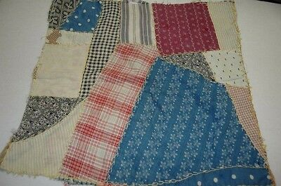 Antique Vintage Cotton Crazy Quilt Top Piece Early Fabrics