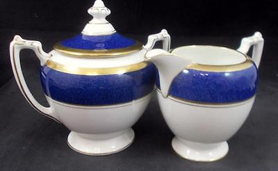 Coalport ATHLONE BLUE Creamer & Sugar Bowl with Lid Bone China GREAT CONDITION