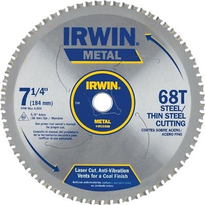 "Irwin 7 1/4"" 68T Carbide Tooth Metal Cutting Saw Blade 4935560"