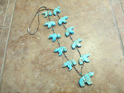 PREMIUM Vintage ZUNI Carved Turquoise BEAR Heishi Bead Necklace    27.5""