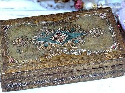 Genuine Vintage Italian FlorentineGold Gilt Wood Box  - French Shabby Chic
