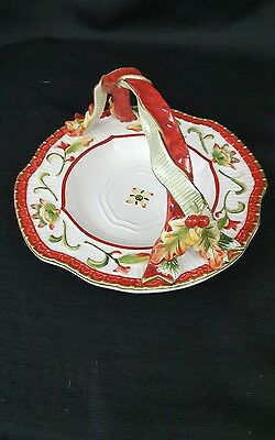Fitz and Floyd Woodland Holiday Holly Basket Handled Candy Dish Server