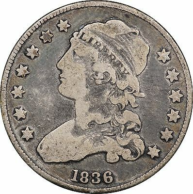 1836 Capped Bust Quarter, F to VF, Original Toning