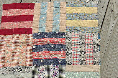Antique Early Cotton Rail Fence Quilt Calico Patchwork Feedsack Piece