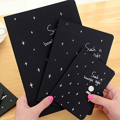 Sketch Book Pure Black Paper Diary Drawing Painting Graffiti Notebook School TOC