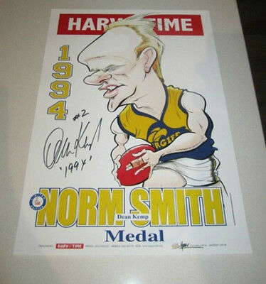 West Coast Eagles Dean Kemp Hand Signed 1994 Norm Smith Harv Time Print