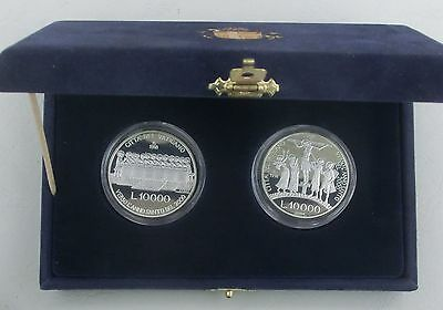 Vatikan / Vatican State 2x 10000 Lire 1998 Ag / Silber p290/291 pp in Schatulle