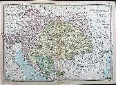 Austria-Hungary Balkans Bohemia Bosnia Serbia Croatia 1882 antique color map