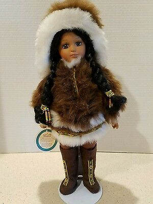 Royal Treasures Porcelain Doll Native American Indian with Full Winter Fur Outfi
