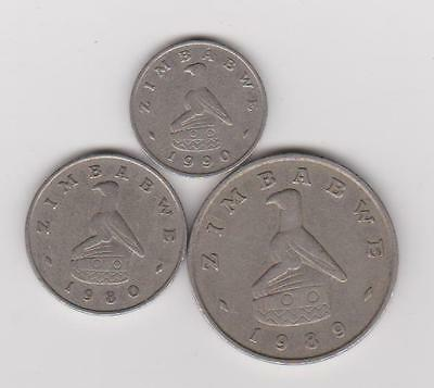 Zimbabwe:  5-10-50 Cents Coin Collection - 3 Coins Mixed Dates