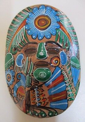 Vintage Mexican Hand-Painted Folk Art Ceramic Mask