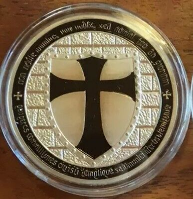 Black Knight Templar Challenge Coin Collectables Finished In Silver .999 1oz ✔️