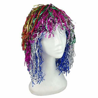 Rainbow Colors Metallic Foil Tinsel Wig 70's 80's Kids Dance Costume Party NEW
