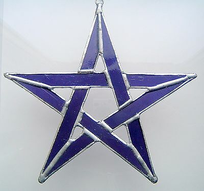 New Purple PENTAGRAM celtic suncatcher stained glass gothic protection handmade