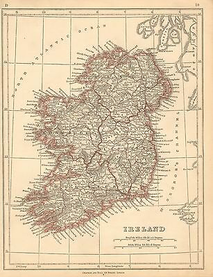 1853 Ca ANTIQUE MAP H/COL LOWRY-IRELAND