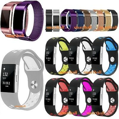Replacement STEEL SILICONE Band Watch Strap Loop Bracelet For Fitbit CHARGE 2