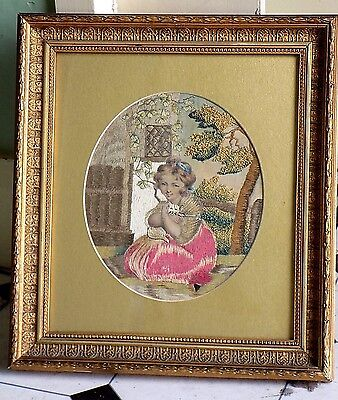 Antique Silkwork Fabric Picture Girl Cat Kitten Embroidery Silk Sampler Old vgc