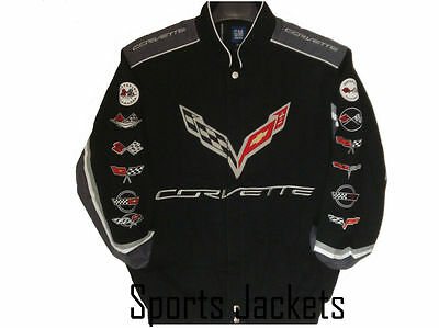 2017 Size  3XL Corvette Black Cotton Embroidered  Jacket JH Design  New XXXL