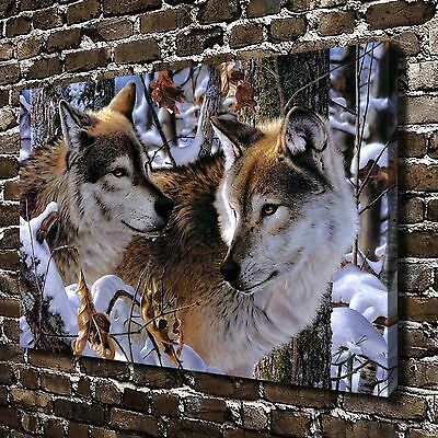 """12""""x18"""" HD Canvas Print Paintings Animals Snow Wolf Home Decor Wall Art Pictures"""