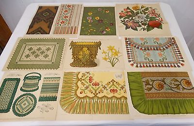 Lot of 10 ANTIQUE FANCY NEEDLEWORK PATTERN DESIGNS 1878, 1880's  & early 1890's