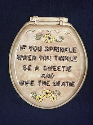 Vintage Ceramic Bathroom Humor If You Sprinkle When You... Wall Hanging Plaque