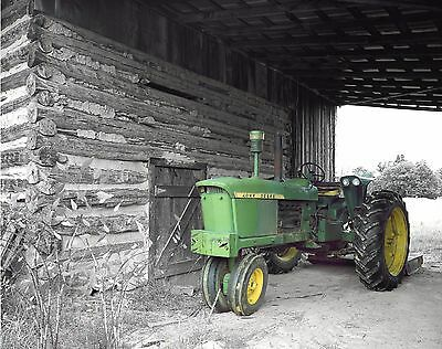 Green Gray Wall Art Matted Photo Print Old Vintage Farm Tractor Decor Picture