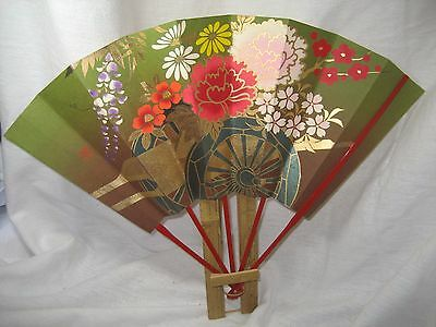 Vintage Japanese Folding Fan with Bamboo Stand for Tea Ceremony